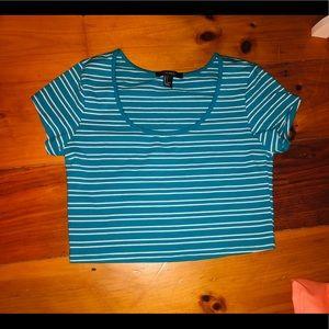 Turquoise stripe crop top